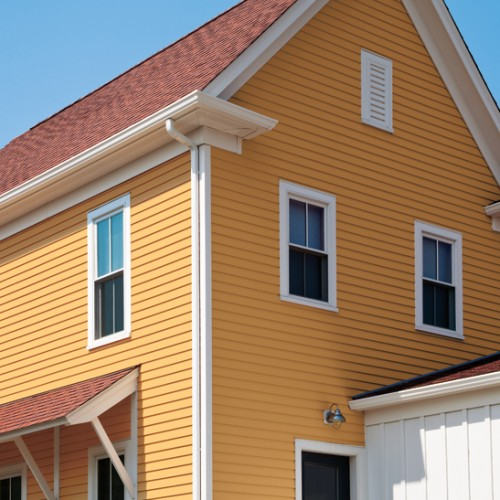 "4"" SMOOTH SIDING IN CLASSICAL GOLD WITH DIAMOND WHITE TRIM"